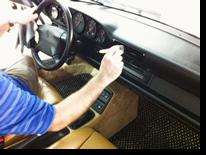 Detailing the interior of a Porsche