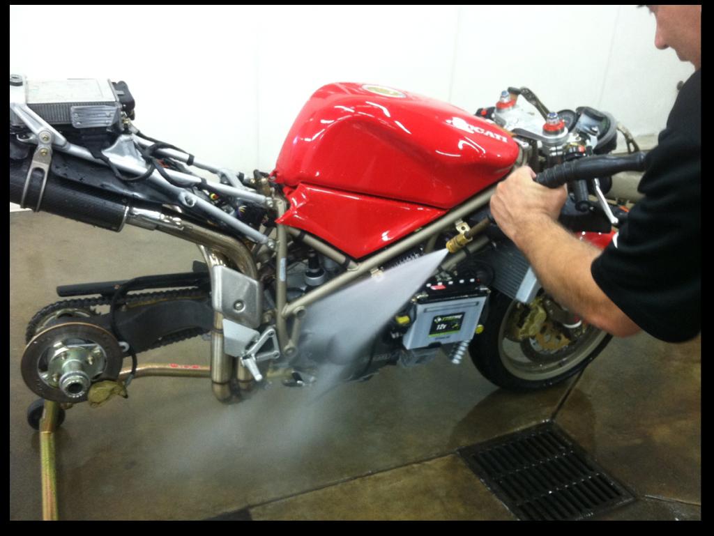 Spray washing the Ducati