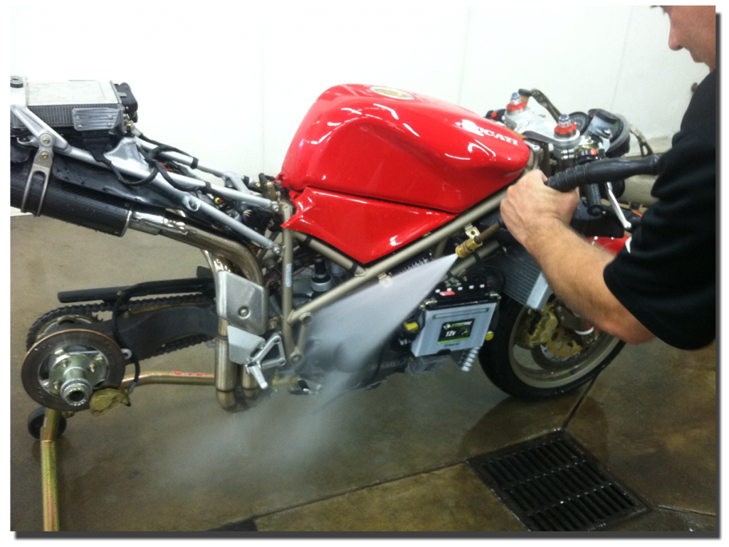 Spray washing the Ducati